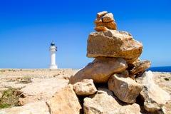 Barbaria Latarnia morska Formentera robi życzenia kamieniom Zdjęcia Stock
