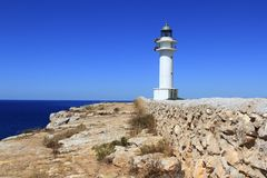 Barbaria lighthouse formentera Balearic islands Stock Image