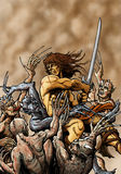 Barbarian in Action. An illustration of a barbarian swinging his sword and destroying his enemies Stock Images