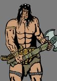 Barbarian with axe. Image of a barbarian with axe Stock Photography