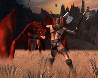 The Barbarian and the Dragon. Digital render of a barbarian warrior fighting a red dragon Royalty Free Stock Photo