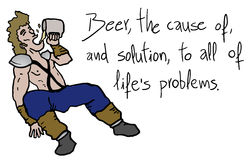 Barbarian drinking beer. Creative design of barbarian drinking beer Stock Photography