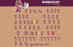Barbarian Game Character Animation Sprite. Vector Illustration of Fun and Cute Barbarian Game Character Animation Sprite Frames Royalty Free Stock Images