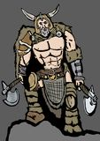 The barbarian. Image of a barbarian with axes Stock Photo