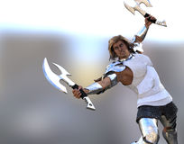 Barbarian with two axes Royalty Free Stock Photos
