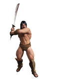 Barbarian warrior. Digital render of powerful barbarian warrior with bloody sword in two handed grip and isolated on white Stock Photo