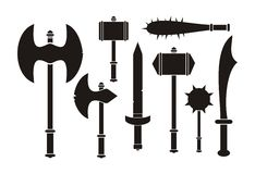 Barbarian weapon - silhouette Stock Photo