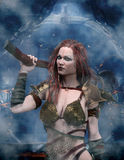 Barbarian woman with axe. 3d render Royalty Free Stock Photos