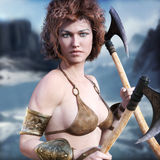 Barbarian woman. Barbarian female with red hair and duel axes posing with a majestic winter background. 3d rendering Stock Image