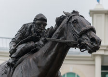 Barbaro Statue and Jockey Close Up. Louisille, United States: May 4th, 2017: Barbaro Statue and Jockey Close Up stock image