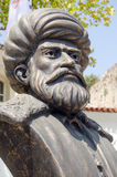 Barbarossa statue, Antalya, Turkey. Bronze bust of the famous Turkish military leader Hayreddin Barbarossa (c1483 - 1546).  Admiral of the fleet and Pasha, he Stock Photography