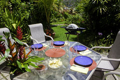 Barbcue lunch set up in a garden Royalty Free Stock Image
