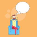 Barbe d'homme se reposant dans le confort de détente de fauteuil illustration de vecteur