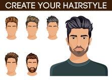 Barbe de hippie de symbole de coiffure d'hommes, hommes de moustache élégants, moderne Illustration de vecteur illustration stock