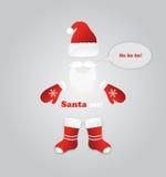 Barbe de Santa, verres, chapeau, mitaines, bottes illustration de vecteur