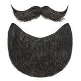 Barbe noire avec la moustache bouclée d'isolement sur le blanc Image stock