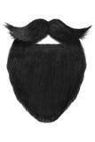 Barbe noire avec la moustache bouclée d'isolement sur le blanc images stock