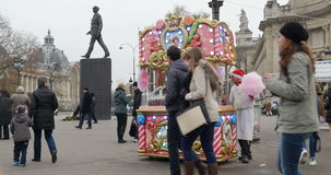 Barbe a Papa or Cotton Candy market stall at Christmas Market on Champs-Elysees in Paris, France stock video footage