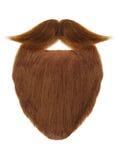 Barbe rouge avec la moustache bouclée d'isolement sur le blanc photo libre de droits