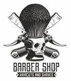 Barbe shop logo. Vector vintage barber shop logo with skull royalty free illustration
