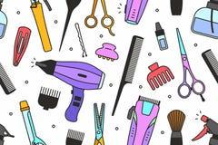 A barbearia utiliza ferramentas o teste padrão ilustração do vetor