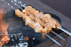 Barbecu at the grill and charcoal Royalty Free Stock Photography