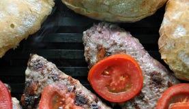 barbecue фаворит временя пирожков гамбургера готовое Стоковые Изображения