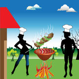 Barbecue. Colorful background with two young people having a barbecue in the backyard of their house Stock Images