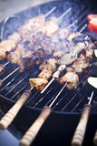 Barbecue. Meat on skewers cooking on the grill Royalty Free Stock Photo