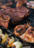 Barbecue. Close-up shot of barbecue steaks Royalty Free Stock Photos