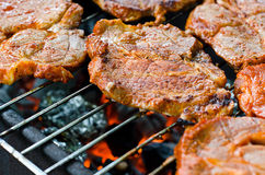 Barbecue. A nice grill barbecue with delicious meat Royalty Free Stock Images