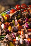Barbecue. With meat and fresh vegetables closeup Royalty Free Stock Image