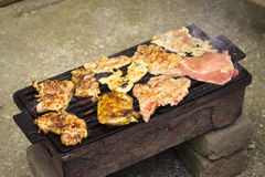 Barbecue. Home rusty barbecue with juicy peaces of meat Stock Photography