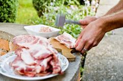 Barbecue. Prepare for barbecue - pig meat (pork Stock Photo