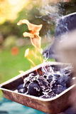 Barbecue. Outdoor Charcoal Barbecue Flame Smoke stock images