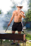 Barbecue. Coal combustion for cooking  roasted meat Stock Photography