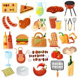 Barbecue Accessories Stylish Icons Collection Royalty Free Stock Image