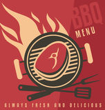 Barbecue ad flat design concept Royalty Free Stock Images