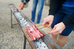 Barbecue with Arrosticini at Campo Imperatore Royalty Free Stock Photo