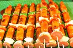Barbecue arrostito delle salsiccie Immagini Stock