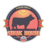 Barbecue Art carving paper. Barbecue color logo with a picture of a pig and knives. Art craft carving paper style. BBQ badge emblem round logo. Fresh meat red Royalty Free Stock Images