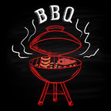 Barbecue background drawn in chalk on a blackboard. Hot brazier with sausages and steak, and an inscription BBQ. Stock Photography