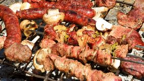 Barbecue - baking fresh meat on grill stock footage