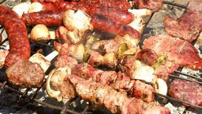 Barbecue - baking fresh meat on grill stock video