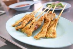 Barbecued pork or pork satay. Barbecue or barbecued pork or pork satay stock image