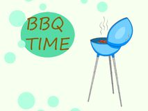 Barbecue or barbeque informally BBQ or barby . Pop art vector object. Time text bubble. Barbecue or barbeque informally BBQ or barby. Pop art vector Stock Photography