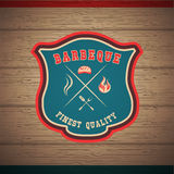 Barbecue BBQ grill logo stamp retro poster Royalty Free Stock Photo