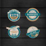 Barbecue BBQ grill logo stamp retro set Royalty Free Stock Image