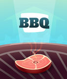 Barbecue BBQ Party invitation card, illustration poster background in cartoon style Royalty Free Stock Image