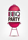 Barbecue BBQ party invitation with grill.  logo Stock Image